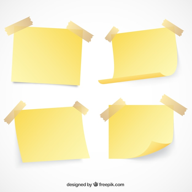 Set of paper notes with tape Free Vector