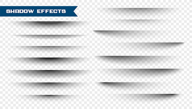 Set of paper shadow effect on transparent Free Vector