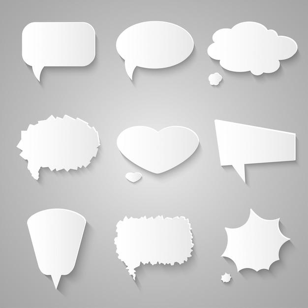 Set of paper speech bubbles with shadows Premium Vector