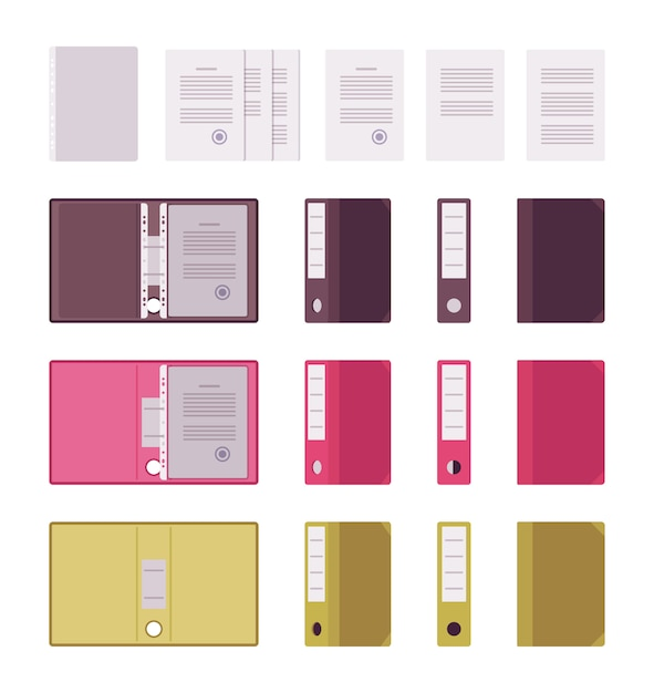 Set of papers, files and folders Premium Vector