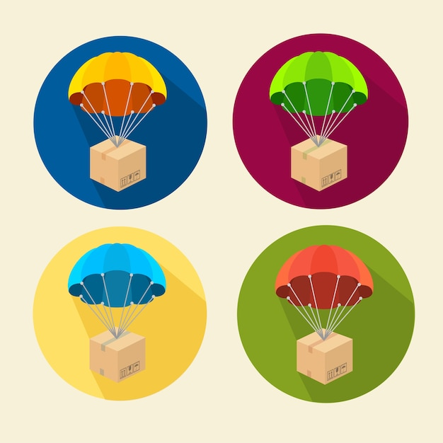 Set of parachutes icons isolated on white Premium Vector