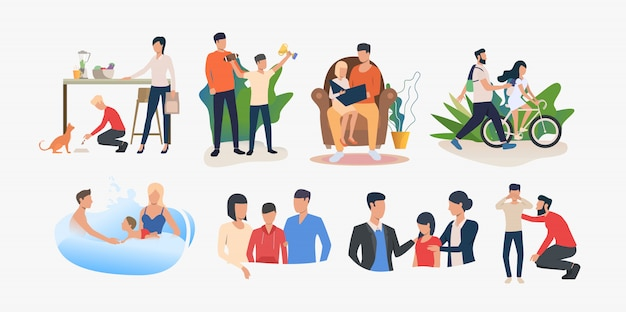 Set of parents spending time with children and supporting them Free Vector