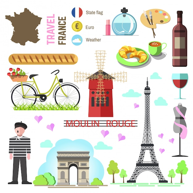 Set of paris/french symbols and landmarks. france vector illustr Premium Vector
