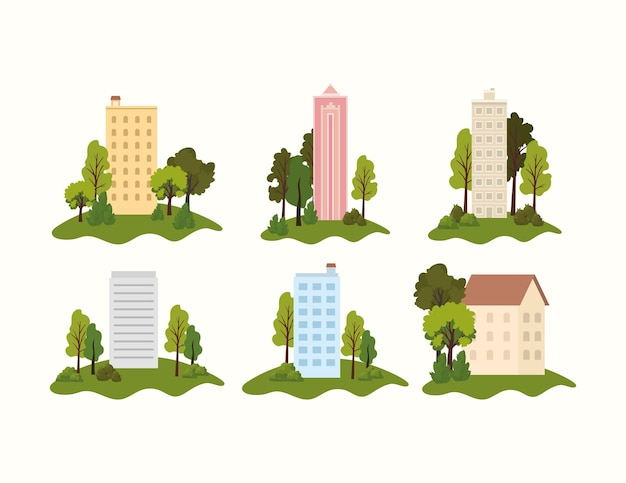 Set of parks with buildings in the middle of it  illustration Premium Vector