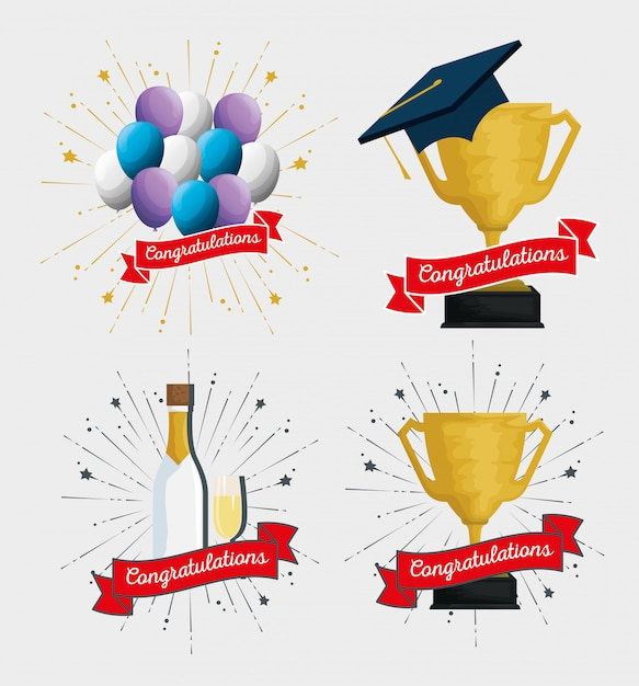 Set party balloons with cup prize and champagne Free Vector
