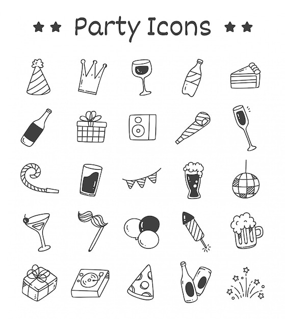 Set of party icons in doodle style Premium Vector