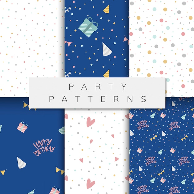 Set of party pattern vectors Free Vector