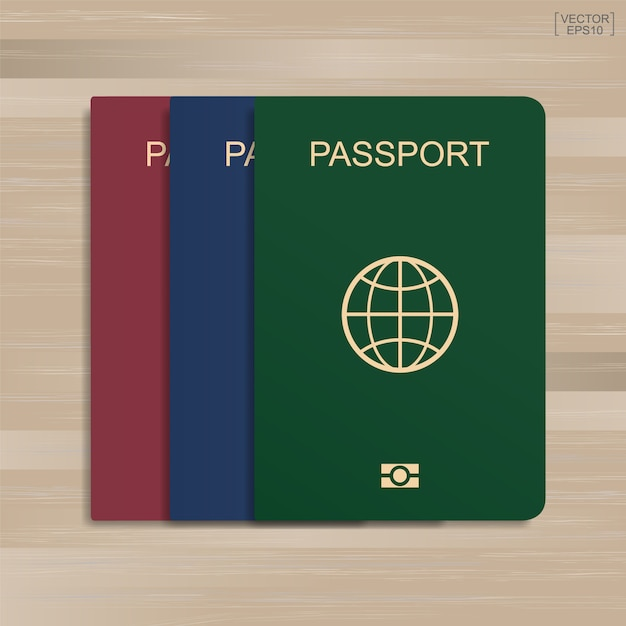 Set of passport on wood pattern and texture background. Premium Vector