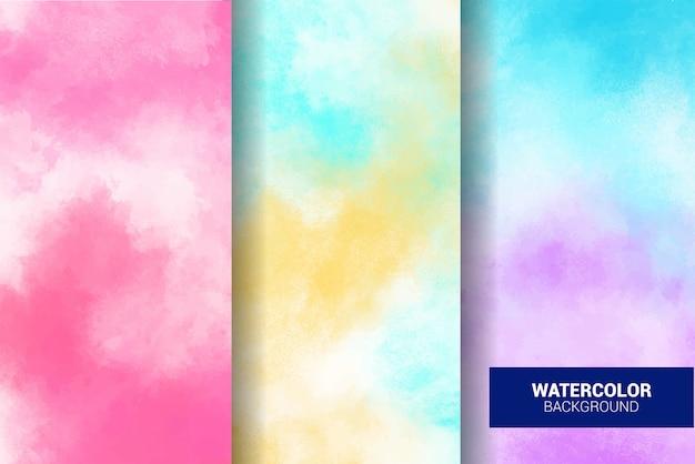 Set of pastel watercolor background. grunge texture. digital art painting Premium Vector