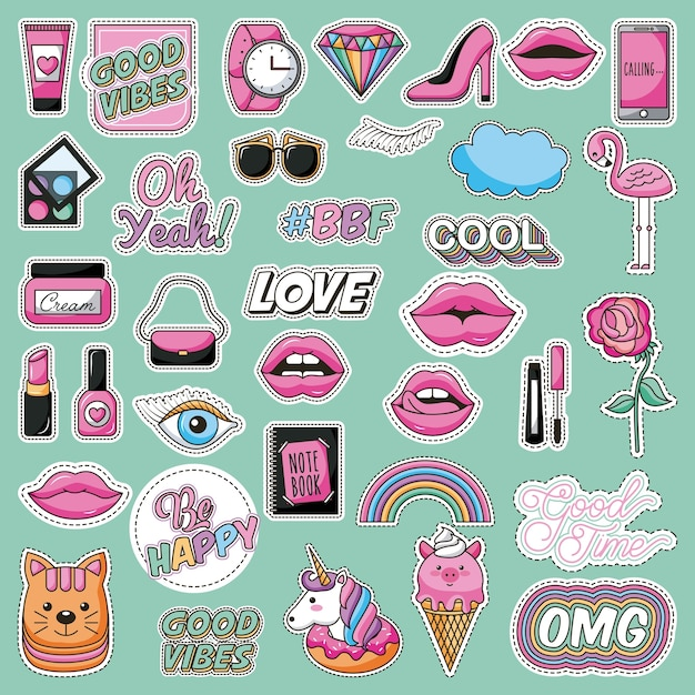 Set of patches fashion teen lovely image Premium Vector