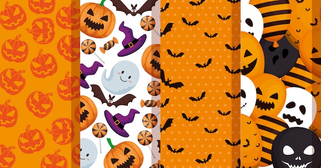 Set patterns of halloween decoration Free Vector