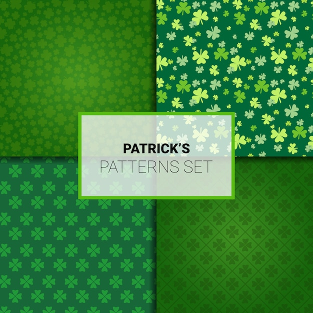 Set of patterns for saint patricks day holiday seamless backgrounds with shamrock leaves Premium Vector
