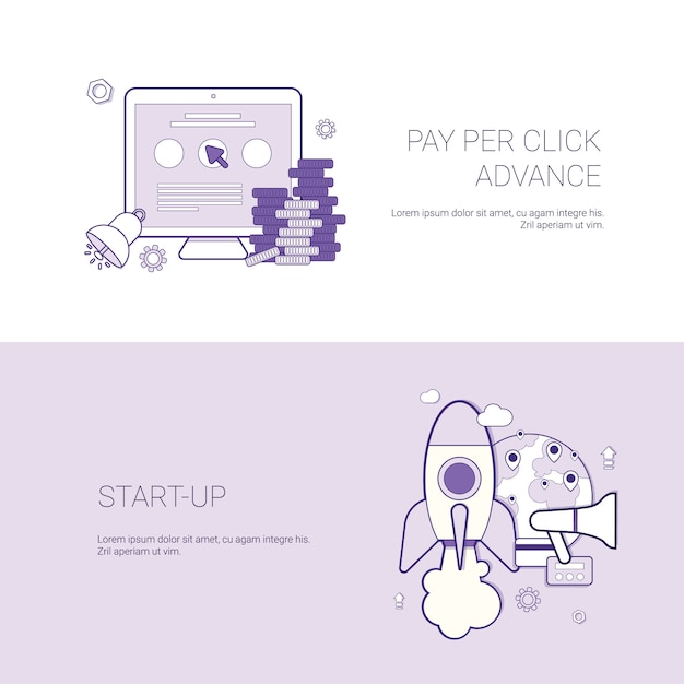 Set of pay per click and startup banners business concept template background with copy space Premium Vector