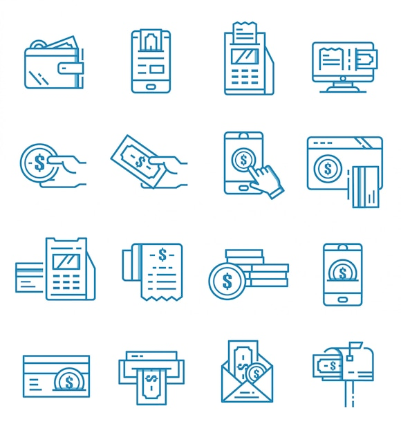 Set of payment icons with outline style Premium Vector