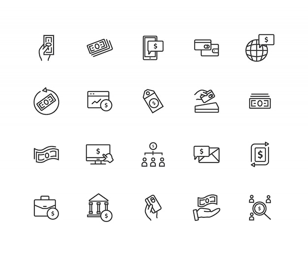 Set of payment related  line icons Premium Vector