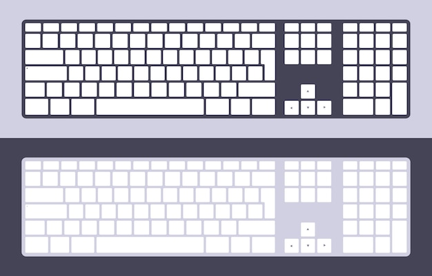 Set of the pc keyboards with blank keys Premium Vector
