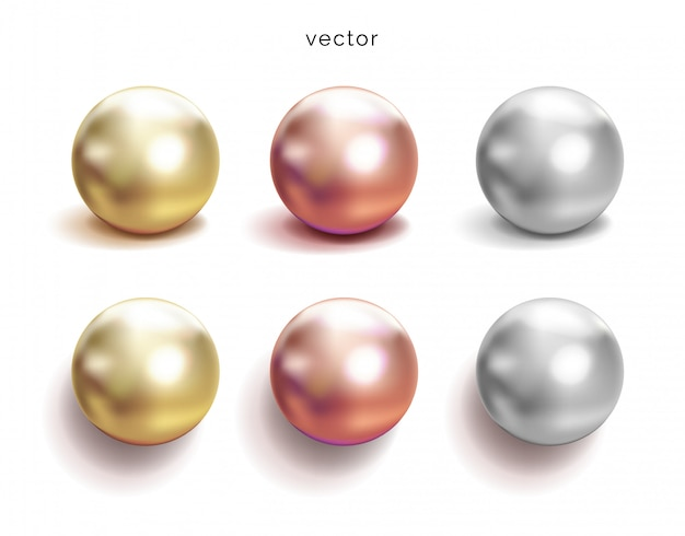Set of pearl silver, pink or rose gold and gold spheres with glares icons  on white background,  illustration. Premium Vector