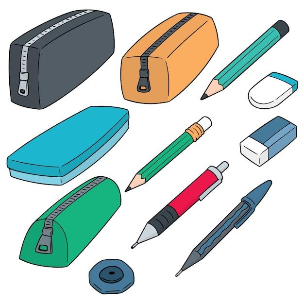 Set of pencil case Premium Vector