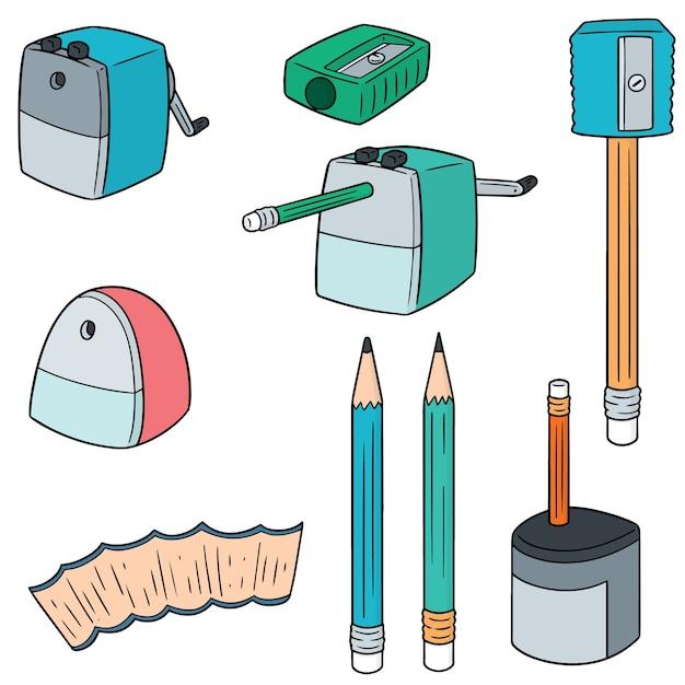 Set of pencil sharpener Premium Vector