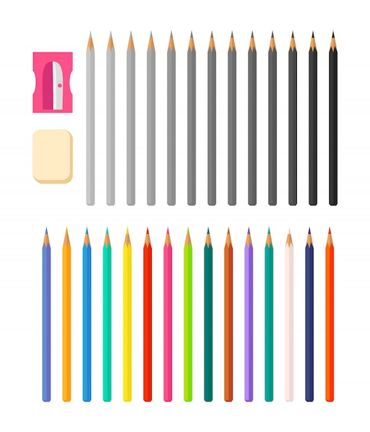 Set of pencils in color and greyscale Premium Vector