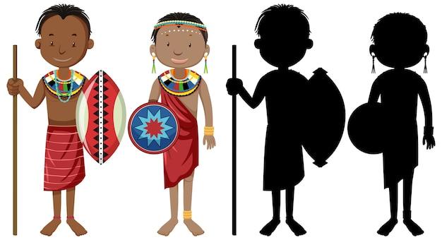 Insieme di persone del carattere di tribù africane con la sua silhouette Vettore gratuito