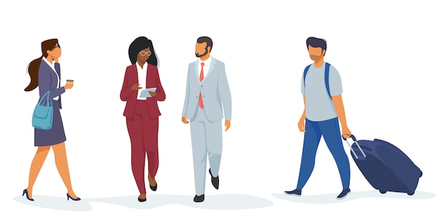 Set of people in airport Free Vector