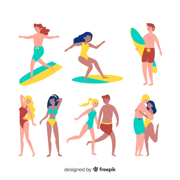 Set of people at the beach Free Vector
