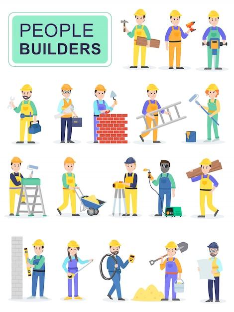 Set of people builders workers. Premium Vector