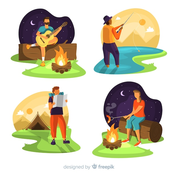 Set of people camping in nature Free Vector