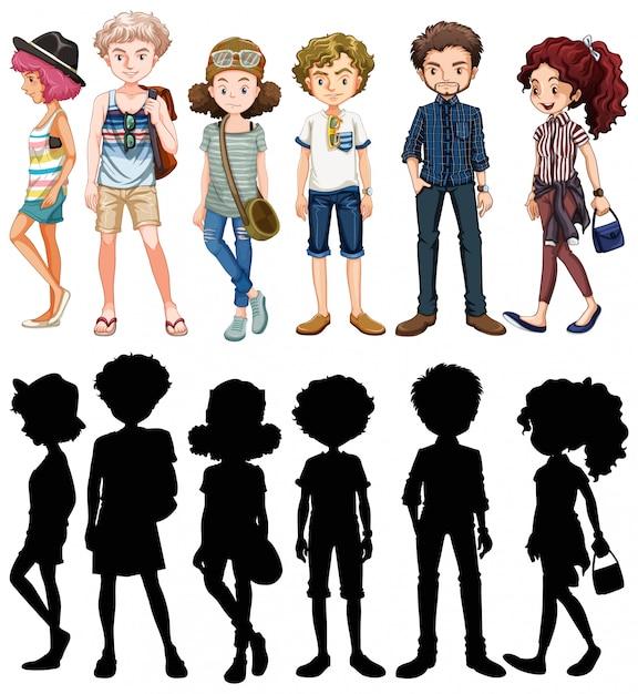 Set di personaggi dei cartoni animati di persone Vettore gratuito