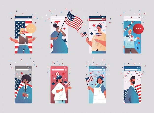 Набор людей, празднующих 4 июля, день независимости сша, концепция смешанной гонки, люди, имеющие виртуальное веселье, коллекция экранов смартфонов, горизонтальная портретная иллюстрация Premium векторы