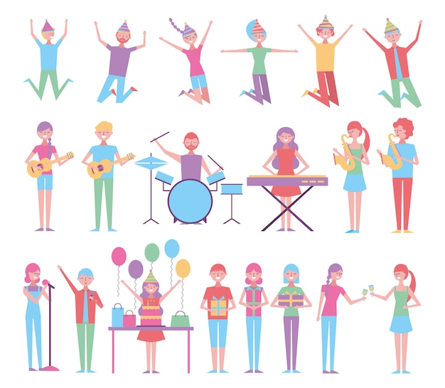 Set of people celebrating birthday with instruments Free Vector