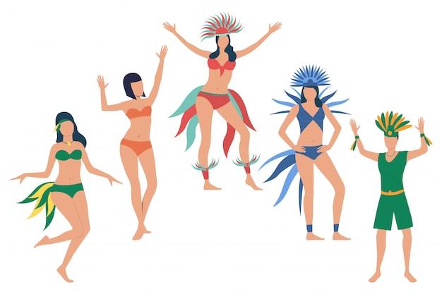 Set of people celebrating national brazil holiday Free Vector