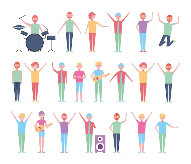 Set of people celebrating with instruments Free Vector