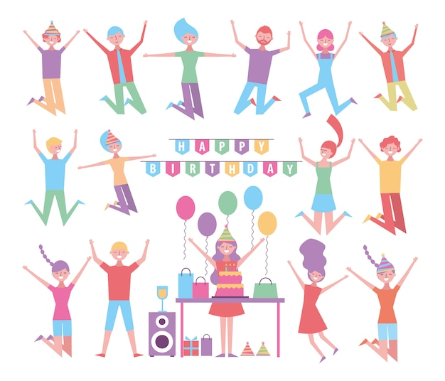 Set of people celebration birthday characters Free Vector