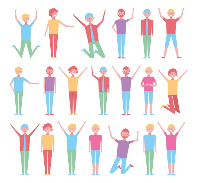 Set of people celebration characters Free Vector