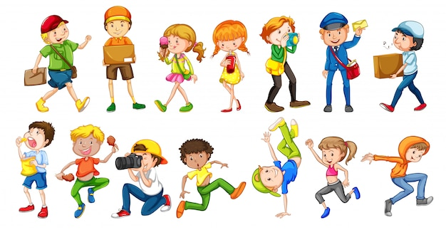 Set of people character Free Vector