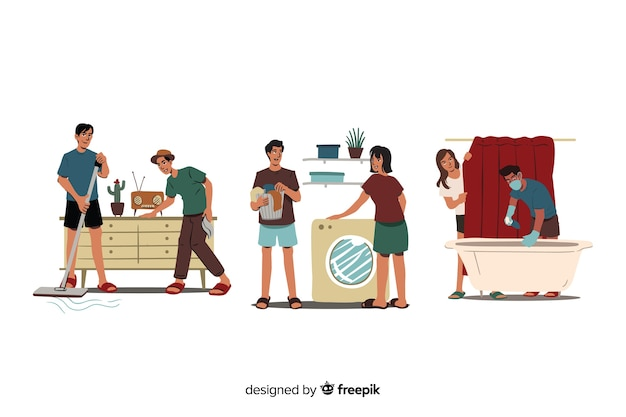 Set of people cleaning their home Free Vector