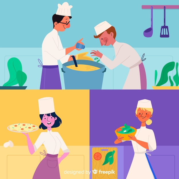 Set of people cooking flat design Free Vector