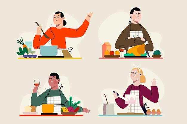 Set of people cooking their favourite food Free Vector