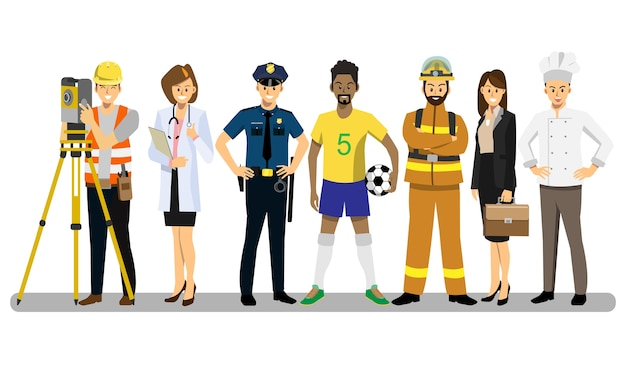 Set of people of different career characters design. Premium Vector