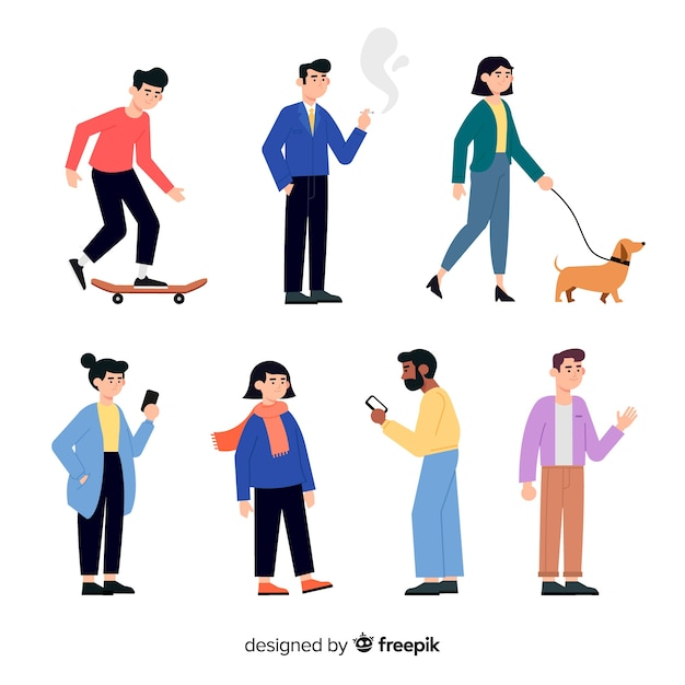 Set of people doing different actions Free Vector