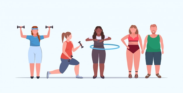Set   people doing different physical exercises mix  overweight men women training workout weight loss concept flat full length horizontal Premium Vector