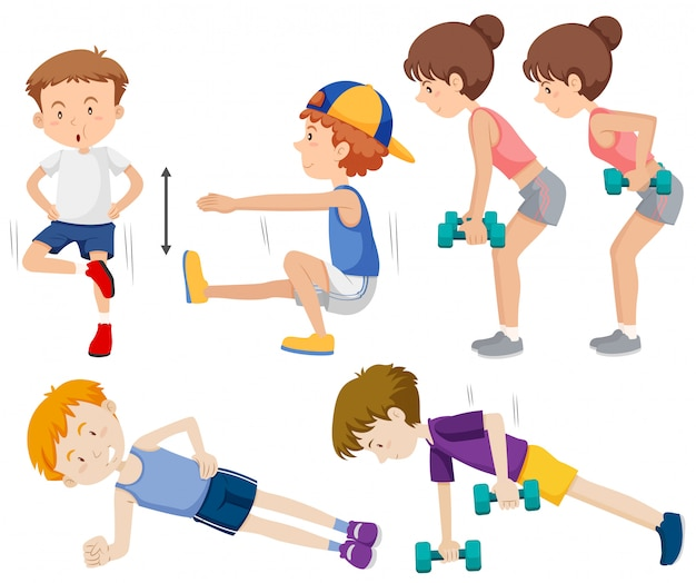 Set of people doing exercise Free Vector