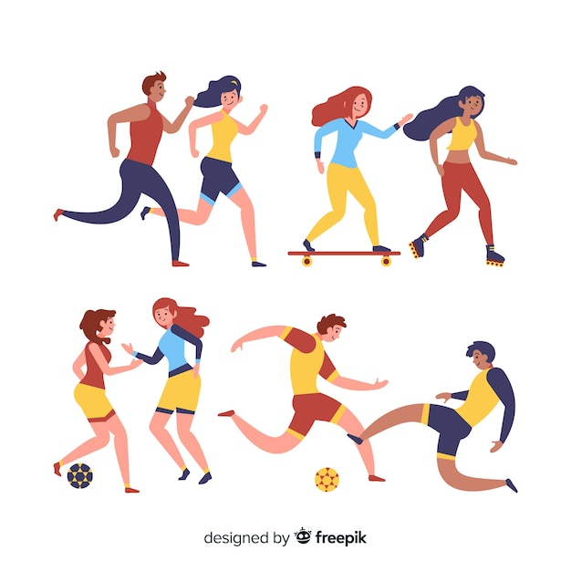 Set of people doing sport Free Vector