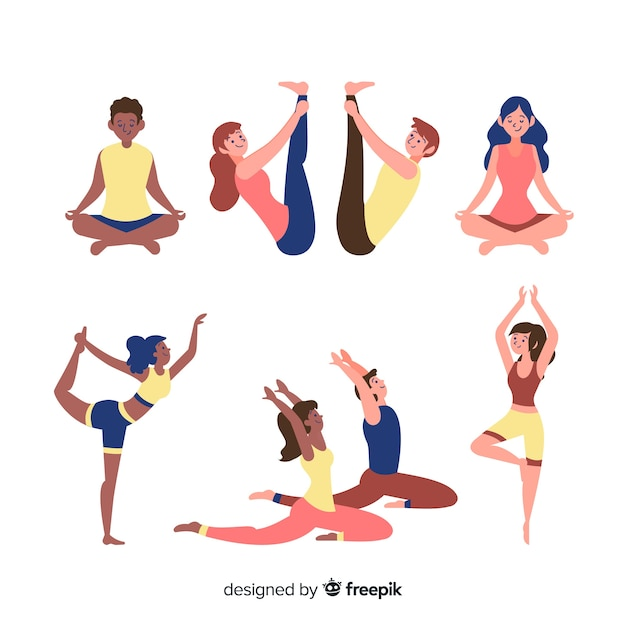 Set of people doing yoga Free Vector