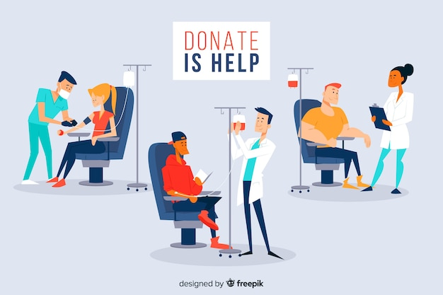 Set of people donating blood Free Vector