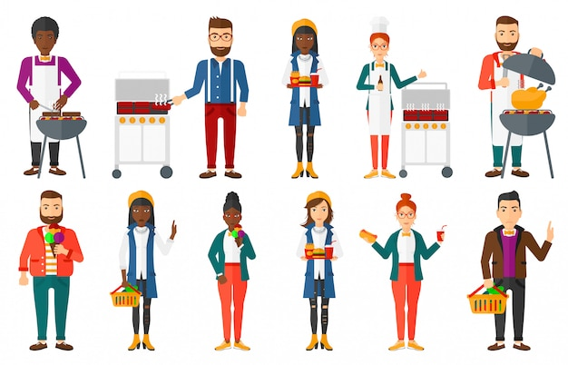 Set of people eating and drinking. Premium Vector