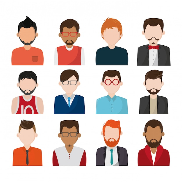 Set of people faceless characters icons Premium Vector
