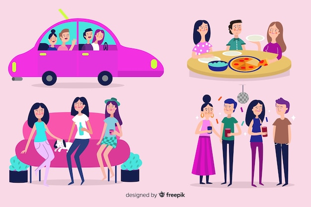 Set of people on friendship day Free Vector